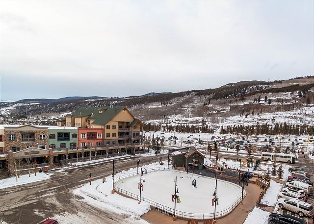 The private balcony overlooks Dercum Square that features an ice rink during the winter and a miniature golf course during the summer.