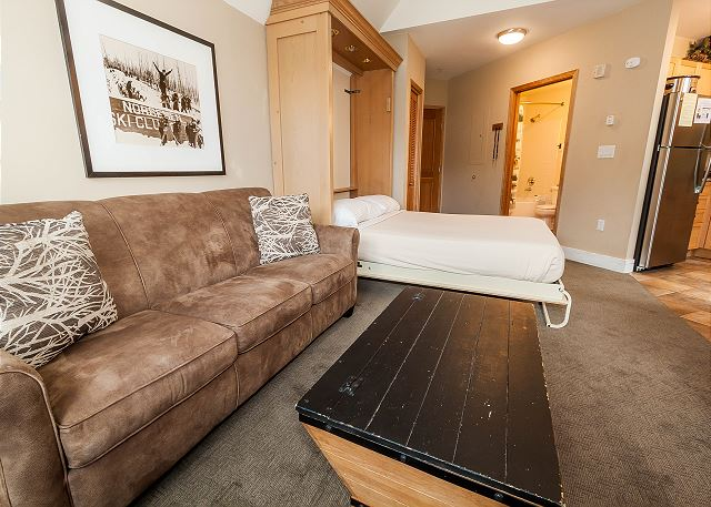 The living area features a queen Murphy bed and a queen sleeper sofa.