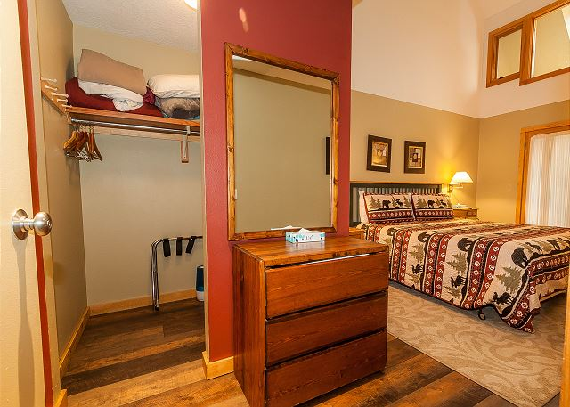 The master suite offers a large walk-in closet.