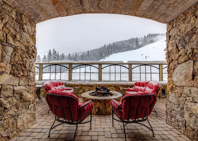Lone Eagle features a shared covered patio with a fire pit and an amazing view of the slopes.