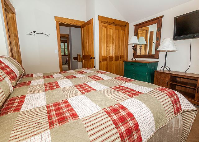 The second guest bedroom is upstairs and has two twin-sized beds pushed together into a king-sized bed.
