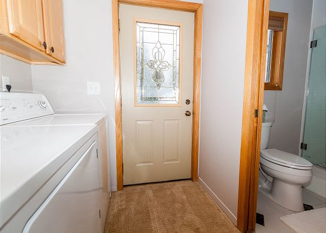 The second master bathroom also includes a full-size washer and dryer. Detergent is provided for your convenience.