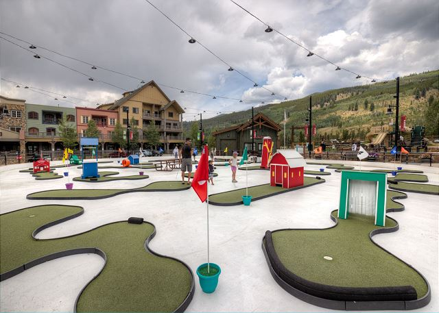 Dercum Square features an ice rink during the winter and a miniature golf course during the summer.