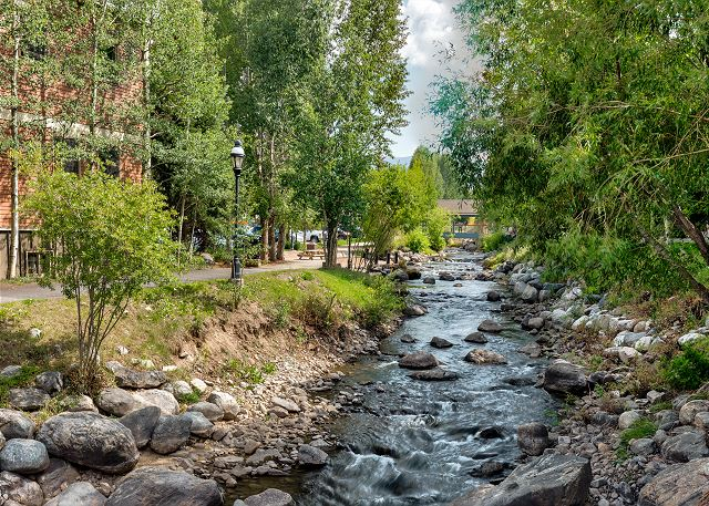 View of Blue River from the Riverwalk Center in Breckenridge, Colorado