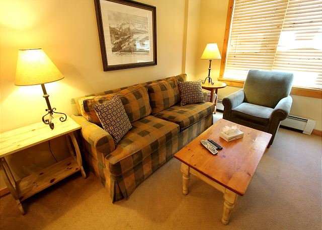 The living area features a flat screen TV, beautiful gas fireplace and a queen-sized sleeper sofa.