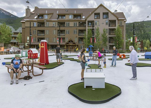 Dercum Square features a mini golf course during the summer and an ice rink during the winter.