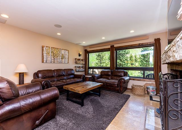 The living area features a wood-burning fireplace, a mounted flat-screen TV, and ample seating.