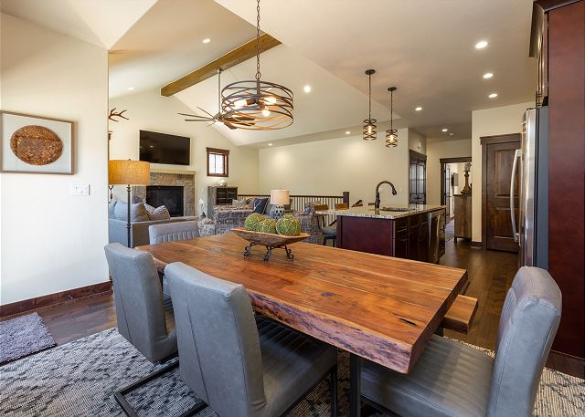 The dining area has seating for 8 and there are 4 additional spaces at the large breakfast bar.