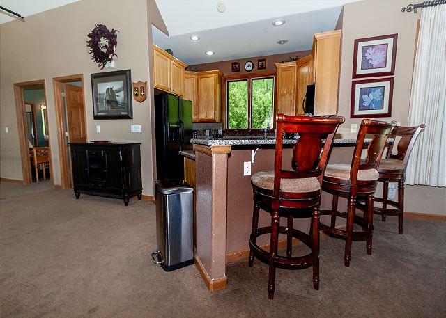 The breakfast bar seats 3.