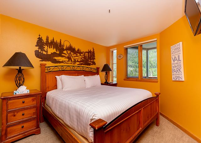 The bedroom features a king bed, a mounted flat screen TV, and mountain and lake views.
