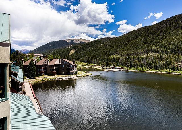 The breathtaking views of the lake and mountains from the private balcony.