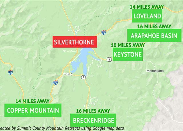 Silverthorne is near several ski areas.