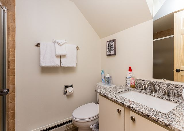 The downstairs full bathroom features granite countertops and a walk-in shower.