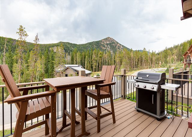 Private deck with seating area and private gas grill