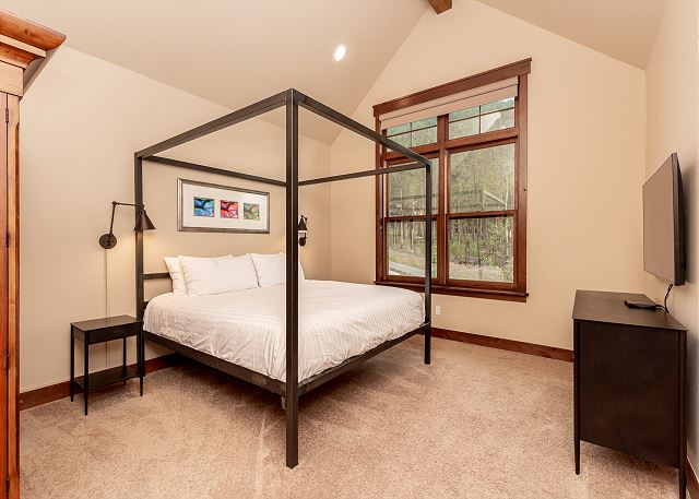 Master bedroom is on the main level and features a king sized bed and flat screen TV.