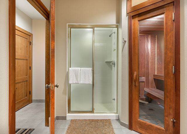 Private sauna and shower are just off the garage on the lower level.