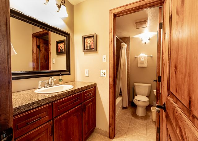 The guest bathroom features a vanity with granite and a separate toilet and tub area.