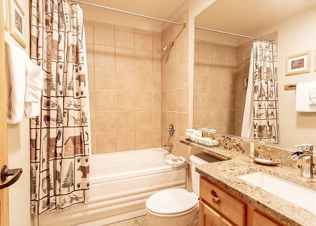 The guest bathroom has granite countertops and a shower/tub combination.