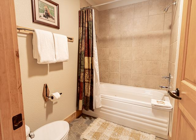The master bathroom has a double sink vanity with granite and a separate area for the shower/tub and toilet.