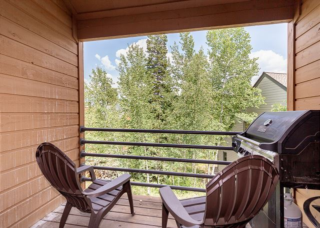 Balcony off the living area with private grill