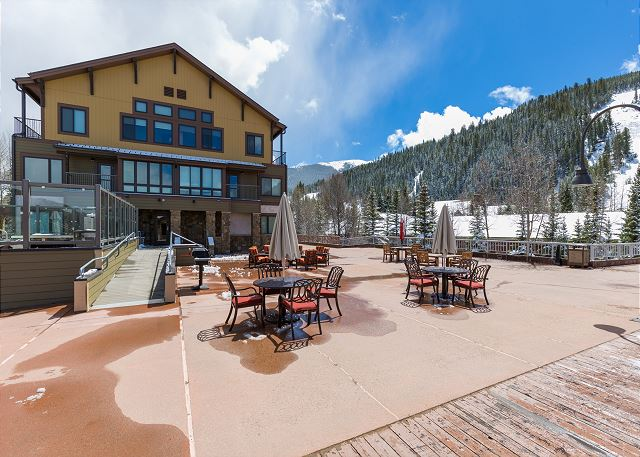 Slopeside outdoor seating area