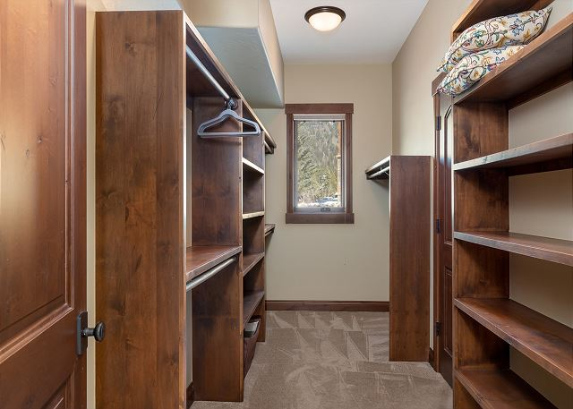 Walk-in closet for the first master bedroom