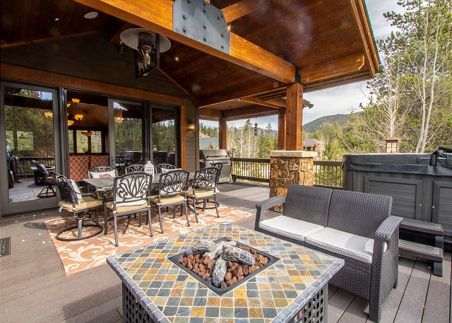 Private deck off the living area in summer