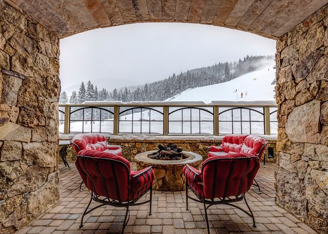 Shared Covered Patio with Fire Pit and View of the Slopes