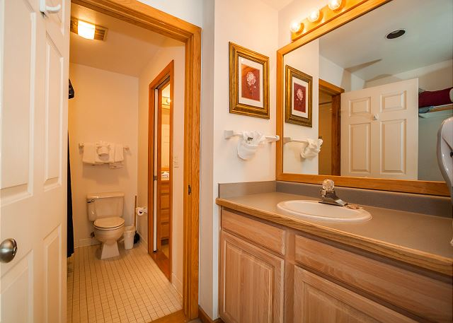 The bedroom has its own access to the guest bathroom as well as its own private single sink vanity.