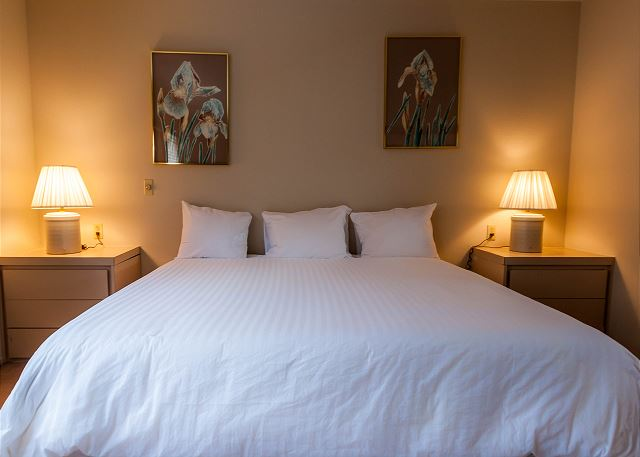 The master bedroom is upstairs in the loft and features a king-sized bed with Ivory White Bedding and a television.