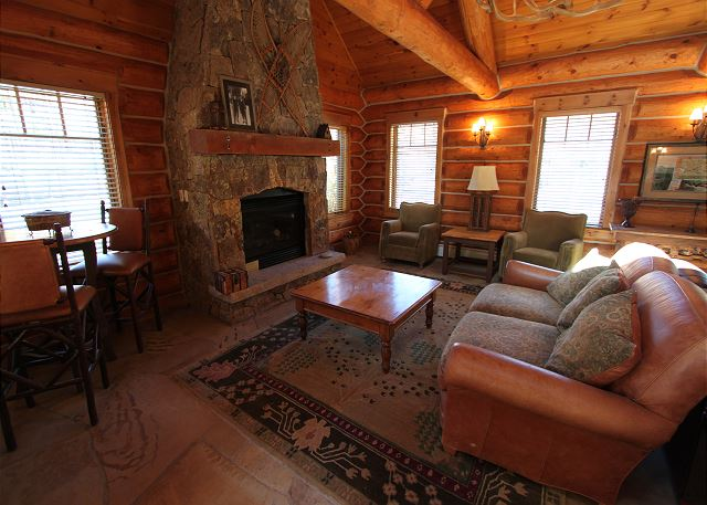 Indoor Fireplace and Seating Area at Minnie's Cabin