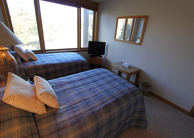 The Guest Bedroom features two twin-sized beds and a flat screen TV.