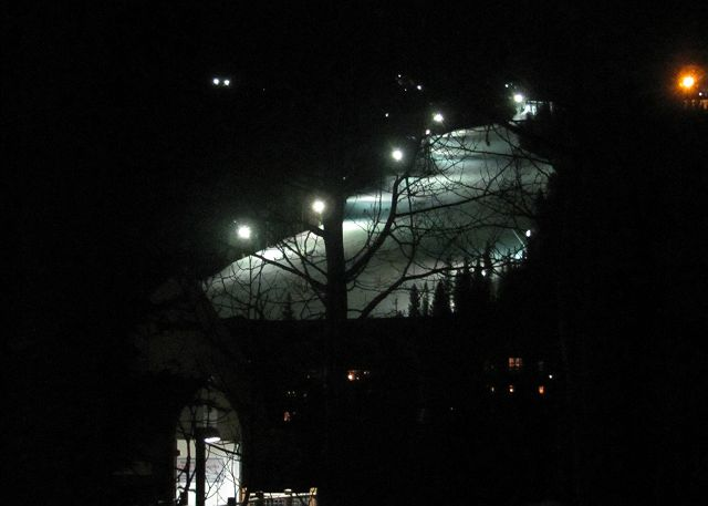 View from Patio of Night Skiing
