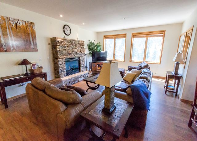The living area features a beautiful gas fireplace and a flat screen TV.