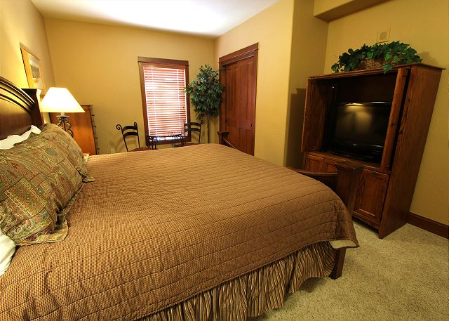 Master bedroom features a king-sized bed and a flat screen TV.