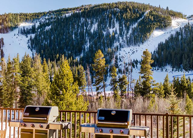 Shared Grill Area with Ski Slope Views