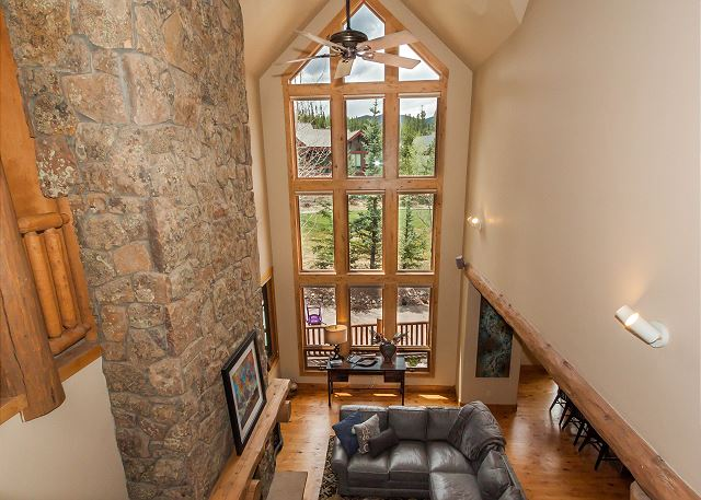 Beautiful views through the two-story windows.