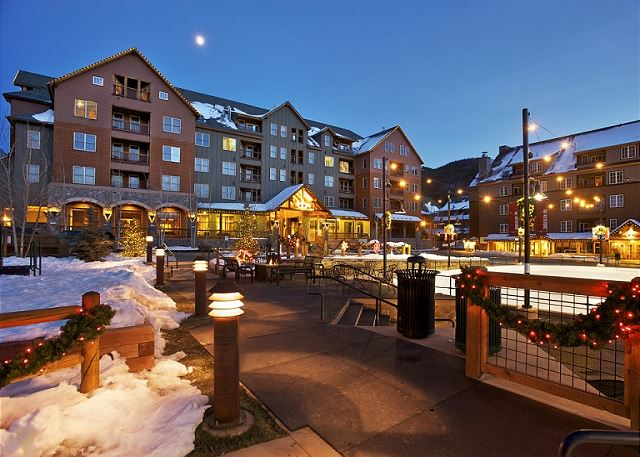 View of Buffalo Lodge from the Dercum Square Ice Rink (converts to miniature golf during summer).