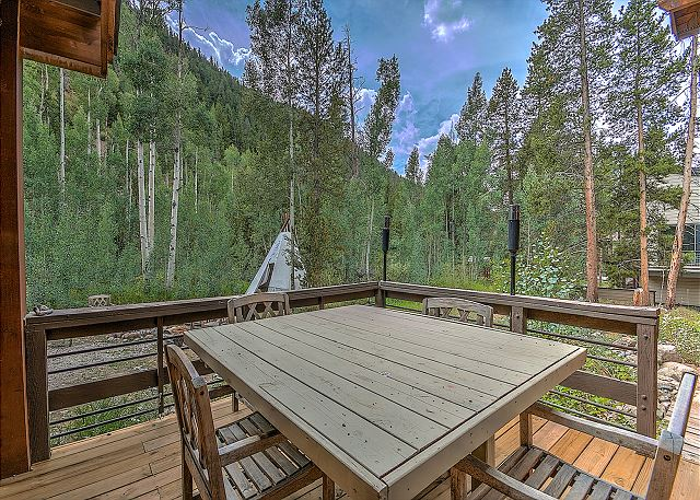 The private deck on the back of the house.