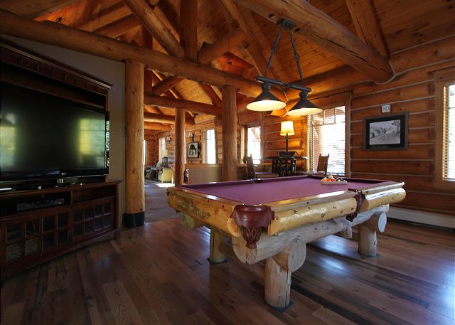 Large Flat Screen TV and Pool Table inside Minnie's Cabin