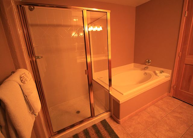 The master bathroom features an oversized tub as well as a walk-in shower.