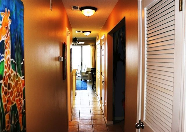 The view down the hallway with the bunks in the hallway on the right.