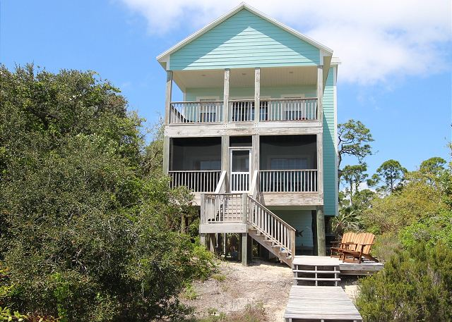 Million Dollar View seen from the beach with screened porch, open sun deck and private walk to the beach.