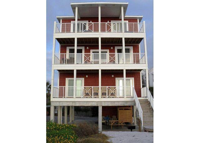St Kitts has 3 beachfront decks plus stairs down to the beach walkway.