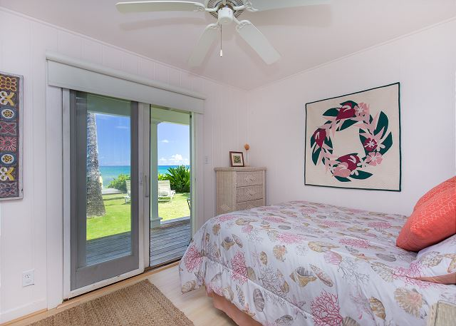 Second Oceanfront room with Queen bed and patio outside of doors