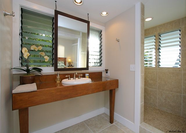 master bathroom has deluxe shower with ocean views
