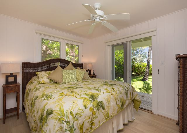 Ocean Front Master Bedroom with King bed and patio outside doors