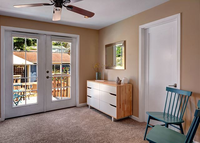 Master suite has french doors to back deck