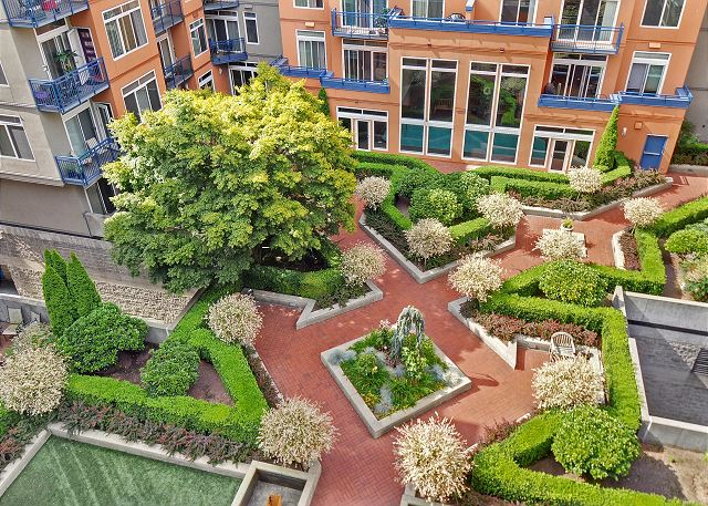 Picturesque courtyard is accessed from the 3rd floor