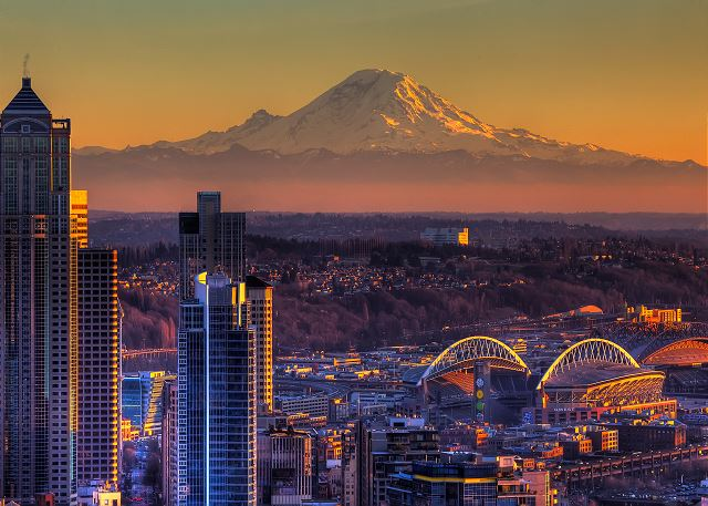 Beautiful Mt. Rainier looms over Seattle, watching over the city.